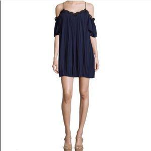 ALICE + OLIVIA | Mimi Pleat Cold Shoulder Dress L